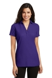 Women's Silk Touch Y-Neck Polo Shirt Purple Thumbnail