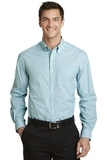 Long Sleeve Gingham Easy Care Shirt Green with Aqua Thumbnail
