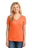Women's 5.4-oz 100 Cotton V-neck T-shirt Neon Orange Thumbnail
