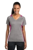 Women's Heather Colorblock Contender V-neck Tee Vintage Heather with Pink Raspberry Thumbnail