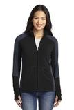 Women's Colorblock Microfleece Jacket Black with Battleship Grey Thumbnail