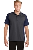 Colorblock Micropique Sport-Wick Polo Iron Grey with True Navy Thumbnail