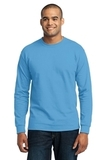 Long Sleeve 50/50 Cotton / Poly T-shirt Aquatic Blue Thumbnail