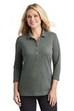 Women's Coastal Cotton Blend Polo Deep Black with White Thumbnail