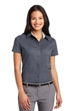 Women's Short Sleeve Easy Care Shirt Steel Grey with Light Stone Thumbnail