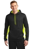 Sport-wick Fleece Colorblock Hooded Pullover Black with Safety Yellow Thumbnail