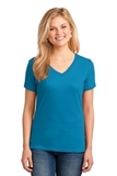 Women's 5.4-oz 100 Cotton V-neck T-shirt Neon Blue Thumbnail