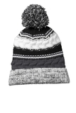 Pom Pom Team Beanie Iron Grey with Black and White Thumbnail