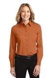 Women's Long Sleeve Easy Care Shirt Texas Orange with Light Stone Thumbnail