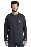 Carhartt Force Cotton Delmont Long Sleeve T-Shirt Navy Thumbnail