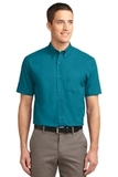 Short Sleeve Easy Care Shirt Teal Green Thumbnail