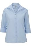 Women's Easy Care Poplin Shirt 3/4 Sleeve Blue Thumbnail