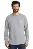 Carhartt Force Cotton Delmont Long Sleeve T-Shirt Heather Grey Thumbnail