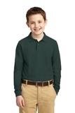 Youth Silk Touch Long Sleeve Sport Shirt Dark Green Thumbnail