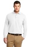 Silk Touch Long Sleeve Polo Shirt White Thumbnail