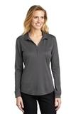 Women's Silk Touch Performance Long Sleeve Polo Steel Grey Thumbnail