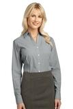 Women's Plaid Pattern Easy Care Shirt Charcoal Thumbnail