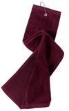 Grommeted Tri-fold Golf Towel Maroon Thumbnail