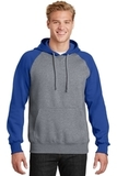 Raglan Colorblock Pullover Hooded Sweatshirt True Royal with Vintage Heather Thumbnail