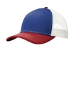 Snapback Trucker Cap Patriot Blue with Flame Red and White Thumbnail
