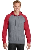 Raglan Colorblock Pullover Hooded Sweatshirt True Red with Vintage Heather Thumbnail