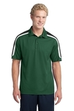 Micropique Shoulder Block Polo Forest Green with Black and White Thumbnail