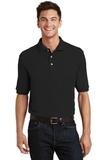 Pique Knit Polo Shirt With Pocket Black Thumbnail