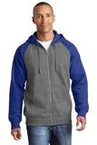 Raglan Colorblock Full-Zip Hooded Fleece Jacket Vintage Heather with True Royal Thumbnail