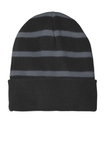 Striped Beanie with Solid Band Black with Iron Grey Thumbnail