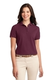Women's Silk Touch Polo Shirt Burgundy Thumbnail