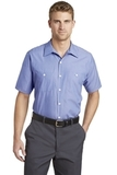 Short Sleeve Striped Industrial Work Shirt Blue with White Thumbnail