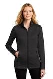 Ladies Collective Striated Fleece Jacket Deep Black Heather Thumbnail