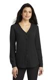 Women's Long Sleeve Button-Front Blouse Black Thumbnail