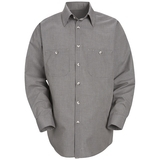 Long Sleeve Checked Industrial Work Shirt Khaki Black Check Thumbnail