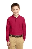 Youth Silk Touch Long Sleeve Sport Shirt Red Thumbnail