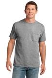 5.4-oz 100 Cotton Pocket T-shirt Athletic Heather Thumbnail