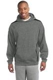 Sleeve Stripe Pullover Hooded Sweatshirt Vintage Heather with Black Thumbnail