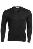 Men's 100 Acrylic Interlock V-neck Sweater Black Thumbnail
