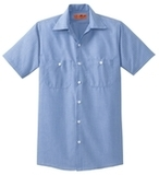 Long Size Short Sleeve Striped Industrial Work Shirt Blue with White Thumbnail