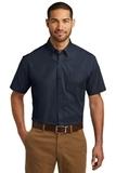 Short Sleeve Carefree Poplin Shirt River Blue Navy Thumbnail