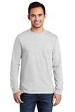 100 Cotton Long Sleeve T-shirt With Pocket Ash Thumbnail