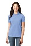 Women's Pique Knit Polo Shirt Light Blue Thumbnail