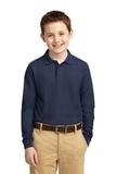Youth Silk Touch Long Sleeve Sport Shirt Navy Thumbnail