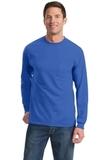 100 Cotton Long Sleeve T-shirt With Pocket Royal Thumbnail