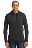 100 Ring Spun Cotton Long Sleeve Hooded T-shirt Heather Dark Grey with Dark Grey Thumbnail