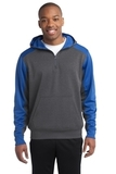 Sport-tek Colorblock Tech Fleece 1/4-zip Hooded Sweatshirt Graphite Heather with True Royal Thumbnail
