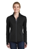 Women's Sport-Wick Stretch Contrast Full-Zip Jacket Black with Charcoal Grey Thumbnail