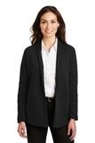 Women's Interlock Cardigan Deep Black with Charcoal Heather Thumbnail