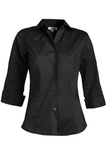 3/4 Sleeve Stretch Broadcloth Blouse Black Thumbnail