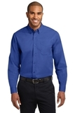 Long Sleeve Easy Care Shirt Royal with Classic Navy Thumbnail